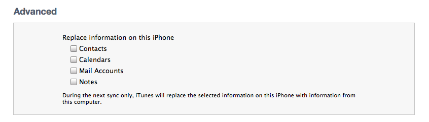 advanced restore to iPhone in iTunes